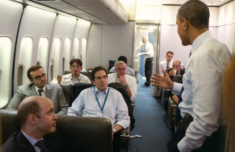 Adam on Air Force One with President Obama